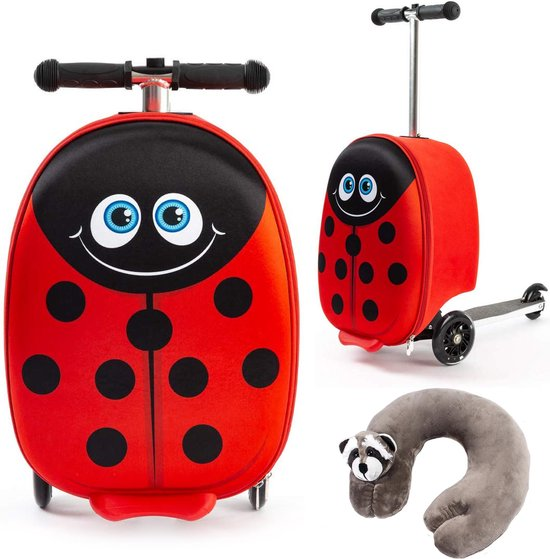 een lieveheersbeestje handbagage koffer met step voor kinderen