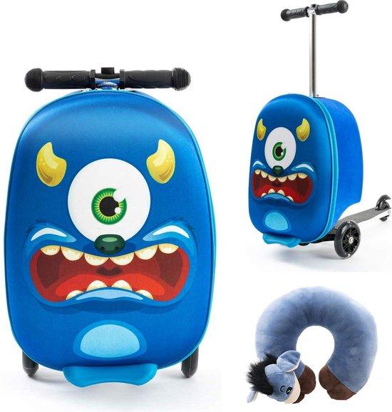 een blauw monster handbagage koffer met step voor kinderen